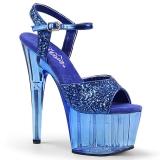 Modrý 18 cm ADORE-710GT třpyt boty na platformě a podpatku