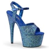 Modrý 18 cm ADORE-710LG třpyt boty na platformě a podpatku
