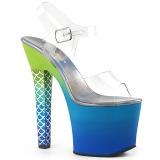 Modrý 18 cm ARIEL-708OMBRE Akryl boty na platformě a podpatku