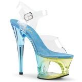 Modrý 18 cm MOON-708MCT Akryl boty na platformě a podpatku