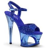 Modrý 18 cm MOON-710GT třpyt boty na platformě a podpatku