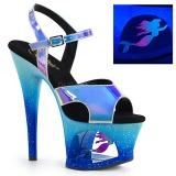 Modrý 18 cm MOON-711MER Neon boty na platformě a podpatku