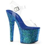Modrý 18 cm RADIANT-708LG třpyt boty na vysokém podpatku