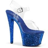 Modrý 18 cm SKY-308LG třpyt boty na platformě a podpatku