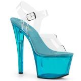 Modrý 18 cm SKY-308T-2 Akryl boty na platformě a podpatku 7433260298