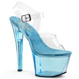 Modrý 18 cm SKY-308T Akryl boty na platformě a podpatku
