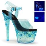 Modrý 18 cm SKY-308UVMG Neon Platformě Sandály Podpatky