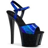 Modrý 18 cm SKY-309HG Hologram boty na platformě a podpatku