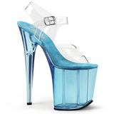 Modrý 20 cm FLAMINGO-808T Akryl Platformě Sandály Podpatky