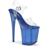 Modrý 20 cm FLAMINGO-808TB Akryl Platformě Sandály Podpatky