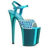 Modrý 20 cm FLAMINGO-809MMRS třpyt sandaly na platformě a podpatku