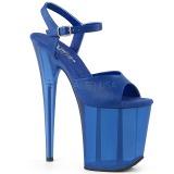 Modrý 20 cm FLAMINGO-809T Akryl boty na platformě a podpatku