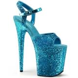 Modrý 20 cm FLAMINGO-810LG třpyt boty na platformě a podpatku