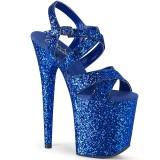 Modrý 20 cm FLAMINGO-897LG třpyt boty na platformě a podpatku