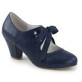 Modrý 6,5 cm WIGGLE-32 Pinup lodičky boty na tlustém podpatku