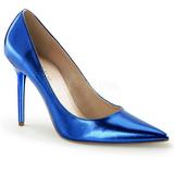 Modrý Kovový 10 cm CLASSIQUE-20 Lodičky na jehlovém podpatku