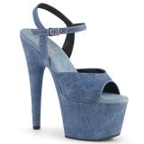 Modrý Koženka 18 cm ADORE-709WR dámské sandály na podpatku