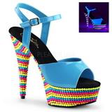 Modrý Lak 15 cm DELIGHT-609RBS Sandály Neon Platformě