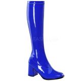 Modrý Lakované 8,5 cm GOGO-300 Dámské Kozačky pro Muže