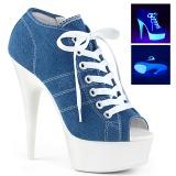 Modrý Neon 15 cm DELIGHT-600SK-01 plátno tenisky na podpatku