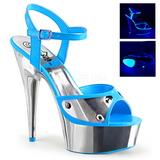 Modrý Neon 15 cm DELIGHT-609NC Sandály Chrom Platformě