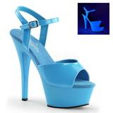 Modrý Neon 15 cm Pleaser KISS-209UV Platformě Vysoké Podpatky