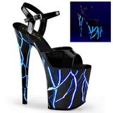 Modrý Neon 20 cm Pleaser FLAMINGO-809NLB Platformě Vysoké Podpatky