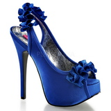 Modrý Satén 14,5 cm Burlesque TEEZE-56 Platformě Sandály Podpatky