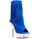 Modrý Semiš 15 cm DELIGHT-1019 Kotníkové Kozačky s třásněmi na podpatku