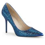 Modrý Třpyt 10 cm CLASSIQUE-20 Lodičky Dámské Stiletto Podpatků