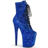 Modrý glitter 20 cm FLAMINGO-1020GWR kotnikové kozačky pro tanec na tyči