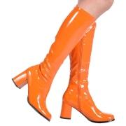 Oran�ová lakované kozačky blokový podpatek 7,5 cm - 70 léta hippie disco gogo - kozačky pod kolena