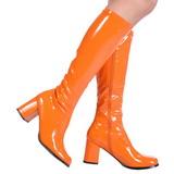 Oranžový Lakované 8,5 cm GOGO-300 Dámské Kozačky pro Muže