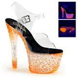Oranžový Neon 18 cm Pleaser CRYSTALIZE-308PS Platformě Vysoké Podpatky