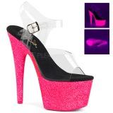Pink 18 cm ADORE-708UVG Sandály Neon Platformě