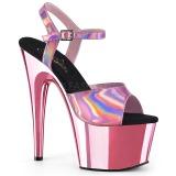 Pink 18 cm ADORE-709HGCH Hologram boty na platformě a podpatku