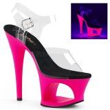 Pink 18 cm MOON-708UV Sandály Neon Platformě