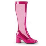 Pink 8,5 cm GOGO-307 pletivo kozačky dámské na podpatku