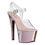 Pink Průhledný 18 cm SKY-308 Vysoké Podpatky Platformě