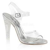 Průhledný 11,5 cm CLEARLY-408MG dámské sandály na podpatku