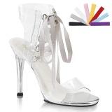 Průhledný 11,5 cm GALA-32 dámské sandály na podpatku