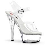 Průhledný 15 cm BROOK-208 dámské boty na vysokém podpatku