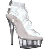 Průhledný 15 cm DELIGHT-635 dámské sandály na podpatku