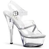 Průhledný 15 cm KISS-208R dámské boty na vysokém podpatku