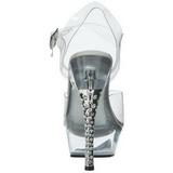 Průhledný 16 cm Pleaser DIAMOND-608 Vysoké Podpatky Platformě