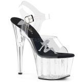 Průhledný 18 cm ADORE-708RSTG dámské sandály na podpatku