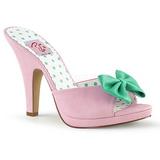 Růžový 10 cm SIREN-03 Pinup pantofle s motýlek