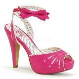 Růžový 11,5 cm Pinup BETTIE-01 dámské sandály na podpatku