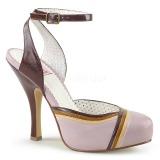 Růžový 11,5 cm retro vintage CUTIEPIE-01 Pinup sandály na platformě a skrytém