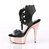 Růžový 15 cm DELIGHT-600-14 pleaser sandály na platformě